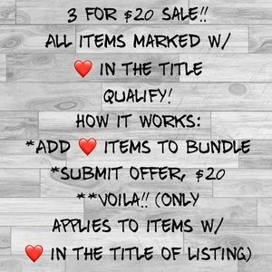 Pick 3 items w ❤️ for $20!!!